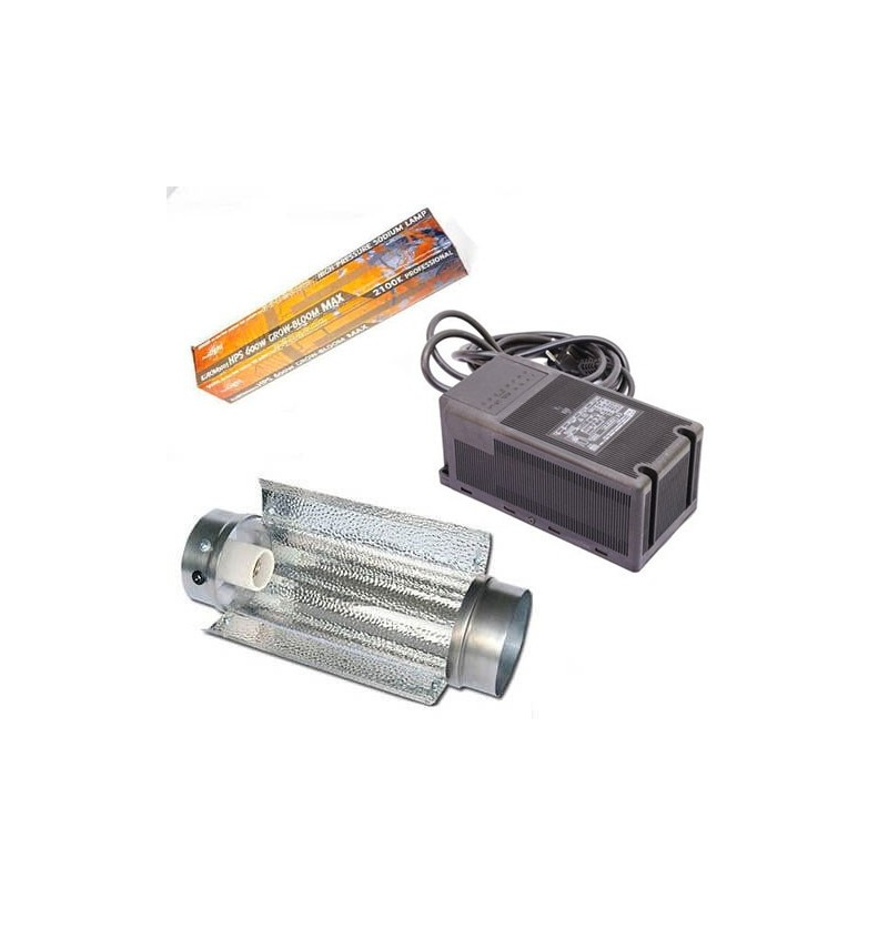 KIT ILUMINACIÓN 600W ETI CLASE 2 + COOLTUBE 125 + PURE LIGHT HPS 600W GROW-BLOOM MAX